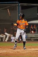 AZL Giants Orange Ismael Alcantara (85) at bat during an Arizona League game against the AZL Giants Black on July 19, 2019 at the Giants Baseball Complex in Scottsdale, Arizona. The AZL Giants Black defeated the AZL Giants Orange 8-5. (Zachary Lucy/Four Seam Images)