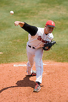 Starting pitcher Bruce Kern #7 of the St. John's Red Storm in action against the Ole Miss Rebels at the Charlottesville Regional of the 2010 College World Series at Davenport Field on June 6, 2010, in Charlottesville, Virginia.  The Red Storm defeated the Rebels 20-16.  Photo by Brian Westerholt / Four Seam Images