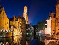 Still water in Canal in Bruges, Belgium