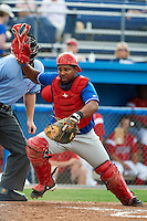 Auburn Doubledays catcher Andruth Ramirez #6 during a NY-Penn League game against the Batavia Muckdogs at Dwyer Stadium on September 3, 2012 in Batavia, New York.  Auburn defeated Batavia 5-3.  (Mike Janes/Four Seam Images)
