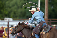 ADKINS, TX - JULY 14, 2007: The Mesquite Trail Drivers 2nd Annual Ranch Rodeo held at the Mesquite Arena & Hall. (Photo by Jeff Huehn)