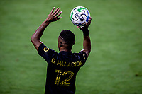 LOS ANGELES, CA - SEPTEMBER 02: Diego Palacios #12 of LAFC with a throw in during a game between San Jose Earthquakes and Los Angeles FC at Banc of California stadium on September 02, 2020 in Los Angeles, California.