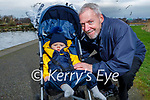 Little Adam Hollywood with his granddad Brian Hollywood taking a stroll in the Tralee Bay Wetlands on Saturday.