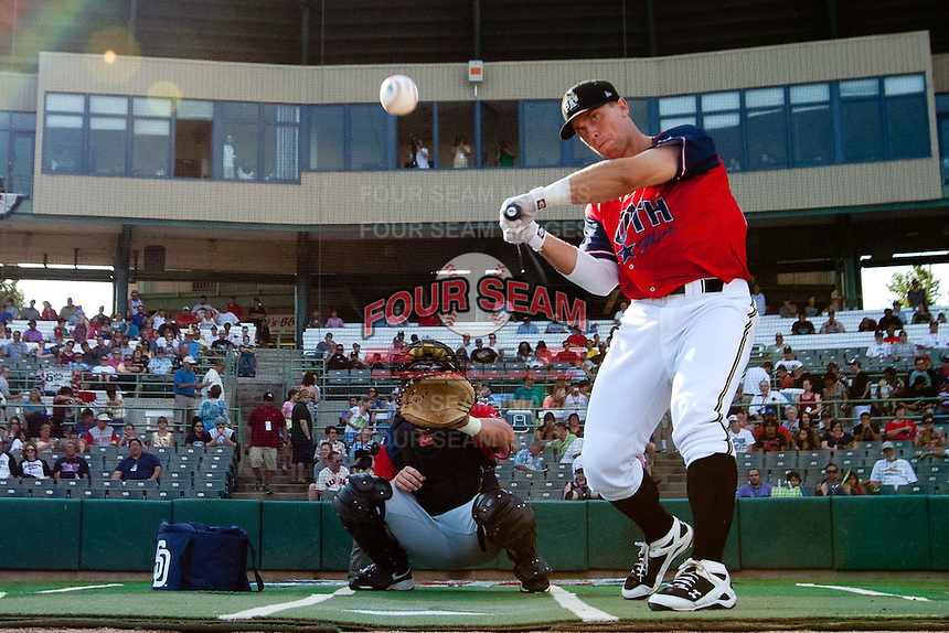 James Darnell (25) of the San Antonio Missions eyes a pitch during the 2011 Texas League All-Star Home Run Derby at Nelson Wolff Stadium on June 29, 2011 in San Antonio, Texas. (David Welker / Four Seam Images)..