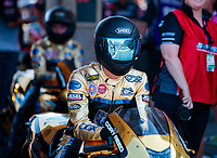 Jul 19, 2019; Morrison, CO, USA; NHRA pro stock motorcycle rider Cory Reed during qualifying for the Mile High Nationals at Bandimere Speedway. Mandatory Credit: Mark J. Rebilas-USA TODAY Sports
