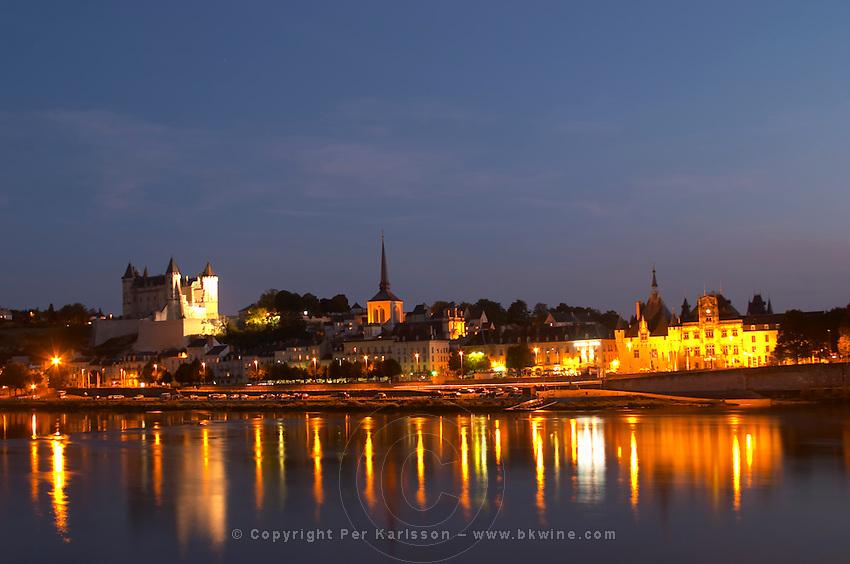 Chateau de Saumur along the river. The Hotel de Ville. Saumur, Loire, France
