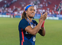 FRISCO, TX - MARCH 11: Jess McDonald #22 of the United States waves to the crowd during a game between Japan and USWNT at Toyota Stadium on March 11, 2020 in Frisco, Texas.