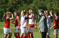 Standard players giving each other high five before a female soccer game between Standard Femina de Liege and Oud Heverlee Leuven on the second matchday of the 2020 - 2021 season of Belgian Scooore Women s SuperLeague , saturday 5 th of September 2020  in Angleur , Belgium . PHOTO SPORTPIX.BE | SPP | SEVIL OKTEM