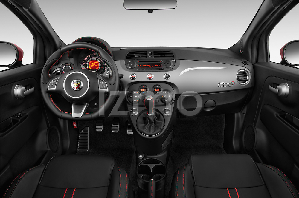 Straight dashboard view of a 2014 Fiat 500c Abarth Cabrio 2 Door Convertible