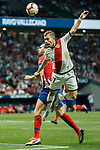 Adrian Embarba Blazquez, A Embarba, of Rayo Vallecano competes for the ball with Diego Roberto Godin Leal of Atletico de Madrid during the La Liga 2018-19 match between Atletico de Madrid and Rayo Vallecano at Wanda Metropolitano on August 25 2018 in Madrid, Spain. Photo by Diego Souto / Power Sport Images