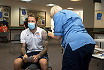 St Johnstone v Fleetwood Town…24.07.21  McDiarmid Park<br />Stevie May pictured receiving his Covid-19 vaccination from nurse Fiona Little<br />Picture by Graeme Hart.<br />Copyright Perthshire Picture Agency<br />Tel: 01738 623350  Mobile: 07990 594431