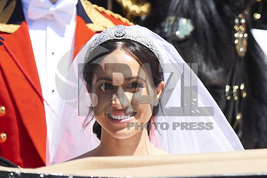 WINDSOR, INGLATERRA, 19.05.2018 - CASAMENTO-REAL - O príncipe britânico Harry e a atriz norte-americana Meghan Markle após se casarem na capela de St. George, em Windsor, perto de Londres, na Inglaterra, neste sábado (19). (Foto: Thorton PPE/Brazil Photo Press)
