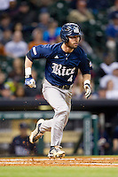 Hunter Kopycinski #4 of the Rice Owls hustles down the first base line against the Texas Longhorns at Minute Maid Park on February 28, 2014 in Houston, Texas.  The Longhorns defeated the Owls 2-0.  (Brian Westerholt/Four Seam Images)