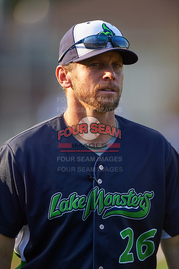 Vermont Lake Monsters manager Aaron Nieckula (26) before a game against the Auburn Doubledays on July 12, 2016 at Falcon Park in Auburn, New York.  Auburn defeated Vermont 3-1.  (Mike Janes/Four Seam Images)