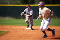 Central Michigan Chippewas second baseman Jason Sullivan (10) checks the runner at third base while forcing the base runner back to first base during a game against the Boston College Eagles on March 3, 2017 at North Charlotte Regional Park in Port Charlotte, Florida.  Boston College defeated Central Michigan 5-4.  (Mike Janes/Four Seam Images)