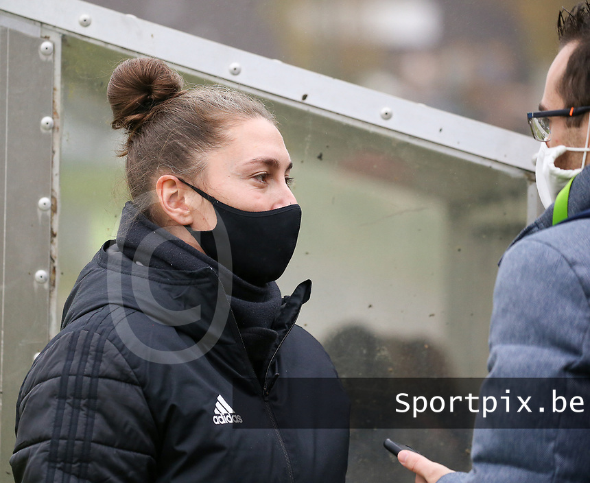 Head coach Audrey Demoustier (Woluwe) gives an interview before a female soccer game between FC Femina WS Woluwe and RSC Anderlecht Women on the eight match day of the 2020 - 2021 season of Belgian Women's Super League , Sunday 22nd of November 2020  in Woluwe, Belgium . PHOTO SPORTPIX.BE | SPP | SEVIL OKTEM
