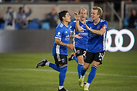 SAN JOSE, CA - MAY 1: Eduardo Lopez #9 of the San Jose Earthquakes celebrates scoring with Jackson Yueill #14 during a game between D.C. United and San Jose Earthquakes at PayPal Park on May 1, 2021 in San Jose, California.