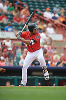 Erie SeaWolves designated hitter Gabriel Quintana (24) at bat during a game against the Hartford Yard Goats on August 6, 2017 at UPMC Park in Erie, Pennsylvania.  Erie defeated Hartford 9-5.  (Mike Janes/Four Seam Images)