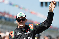 March 15, 2015: Nico Hulkenberg (DEU) #27 from the Sahara Force India F1 Team waves to fans during the drivers' parade at the 2015 Australian Formula One Grand Prix at Albert Park, Melbourne, Australia. Photo Sydney Low