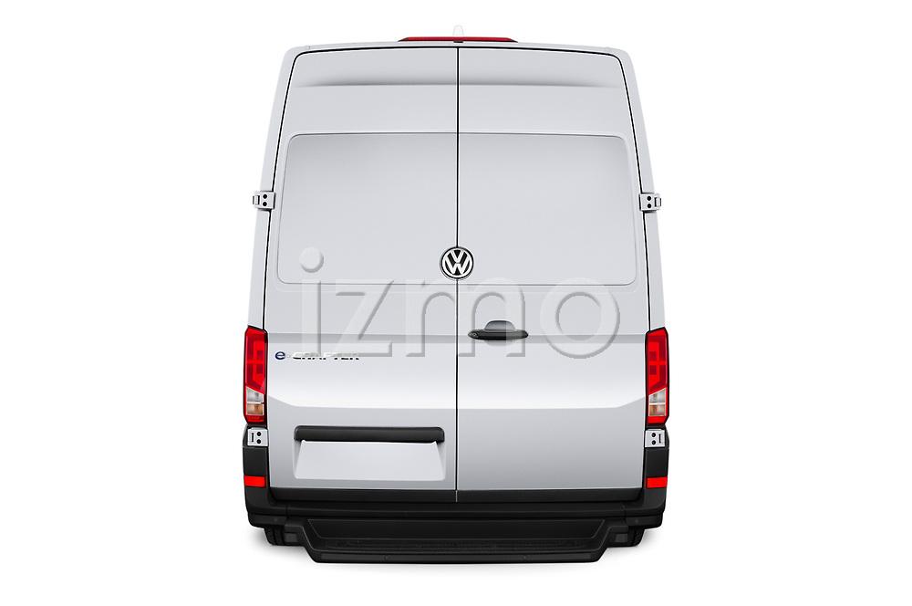 Straight rear view of 2020 Volkswagen Crafter e-Crafter 4 Door Cargo Van Rear View  stock images