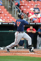 Gwinnett Braves catcher Christian Bethancourt (27) at bat during a game against the Buffalo Bisons on May 13, 2014 at Coca-Cola Field in Buffalo, New  York.  Gwinnett defeated Buffalo 3-2.  (Mike Janes/Four Seam Images)