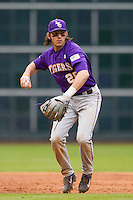 LSU Tigers third baseman Conner Hale (20) prepares to make a throw to first base during the NCAA baseball game against the Baylor Bears on March 7, 2015 in the Houston College Classic at Minute Maid Park in Houston, Texas. LSU defeated Baylor 2-0. (Andrew Woolley/Four Seam Images)