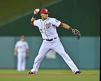 20 September 2012: Washington Nationals shortstop Ian Desmond in action against the Los Angeles Dodgers at Nationals Park in Washington, DC. The Nationals defeated the Dodgers 4-1, clinching a playoff birth: the first time for a Washington franchise since 1933. Mandatory Credit: Ed Wolfstein Photo