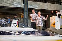 """Vorstellung des Solar-Sonnenwagens, der von Studenten der RWTH Aachen entwickelt wurde.<br /> Der chinesische Konzern Huawei und die Bundesumweltministerin Barbara Hendricks stellten am Donnerstag den 20. Juli 2017 in Berlin den """"Huawei Solar-Sonnenwagen"""". Nach zwei Jahren Entwicklungs- und Bauzeit wollen die Studenten im Oktober mit dem Wagen an der World Solar Challenge teilnehmen und 3.022 Kilometer durch Australien fahren.<br /> Massgeblich gefoerdert wird das Projekt vom chinesischen Konzern Huawei.<br /> Im Bild: Barbara Hendricks und Hendrik Loebberding, 1. Vorsitzender des Sonnenwagen Aacchen e.V. am Fahrzeug.<br /> 20.7.2017, Berlin<br /> Copyright: Christian-Ditsch.de<br /> [Inhaltsveraendernde Manipulation des Fotos nur nach ausdruecklicher Genehmigung des Fotografen. Vereinbarungen ueber Abtretung von Persoenlichkeitsrechten/Model Release der abgebildeten Person/Personen liegen nicht vor. NO MODEL RELEASE! Nur fuer Redaktionelle Zwecke. Don't publish without copyright Christian-Ditsch.de, Veroeffentlichung nur mit Fotografennennung, sowie gegen Honorar, MwSt. und Beleg. Konto: I N G - D i B a, IBAN DE58500105175400192269, BIC INGDDEFFXXX, Kontakt: post@christian-ditsch.de<br /> Bei der Bearbeitung der Dateiinformationen darf die Urheberkennzeichnung in den EXIF- und  IPTC-Daten nicht entfernt werden, diese sind in digitalen Medien nach §95c UrhG rechtlich geschuetzt. Der Urhebervermerk wird gemaess §13 UrhG verlangt.]"""