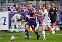Laura Deloose (14) of Anderlecht pictured with Renate-Ly Mehevets (15) of Sporting Charleroi during a female soccer game between RSC Anderlecht Dames and Sporting Charleroi  on the second matchday of the 2021 - 2022 season of Belgian Womens Super League , saturday 28 th of August 2021  in Brussels , Belgium . PHOTO SPORTPIX   DAVID CATRY