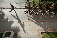 Soldiers drill at the Bartoszyce military base. This year's class of drafted recruits is the final one after 90 years of compulsory military service, as Poland's army turns professional in 2009.