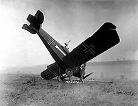 German plane C.L. III A 3892/18 brought down in the Argonne by American machine gunners, between Montfaucon and Cierges, France, showing Red Cross painted on wings and fuselage of planes.  October 4, 1918.  Pvt. J. E. Gibbon. (Army)<br /> NARA FILE #:  111-SC-26545<br /> WAR & CONFLICT BOOK #:  600