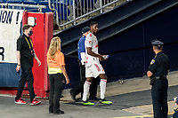 FOXBOROUGH, MA - MAY 22: Andres Reyes #4 of New York Red Bulls leaves the field after second yellow red card ejection during a game between New York Red Bulls and New England Revolution at Gillette Stadium on May 22, 2021 in Foxborough, Massachusetts.