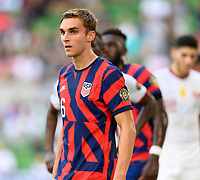 AUSTIN, TX - JULY 29: James Sands #16 of the United States waits for a corner kick during a game between Qatar and USMNT at Q2 Stadium on July 29, 2021 in Austin, Texas.