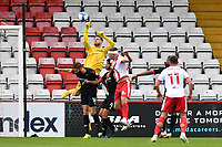 Vaclav Hladky of Salford City F.C. Punches a cross clear during Stevenage vs Salford City, Sky Bet EFL League 2 Football at the Lamex Stadium on 3rd October 2020