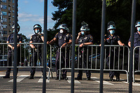 NEW YORK, NEW YORK - June 7: Some police officers guard a demonstration in Upper Manhattan on June 7, 2020 in New York, NY. Protesters continue to take to the streets of the United States and in other parts of the world after the murder of George Floyd by a white police officer Derek Chauvin. The protests attempt to give voice to the need for African American human rights. (Photo by Pablo Monsalve / VIEWpress )