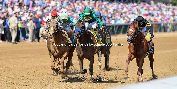 May 1, 2021 : Flagstaff, #4, ridden by jockey Luis Saez, wins the Churchill Downs on Kentucky Derby Day at Churchill Downs on May 1, 2021 in Louisville, Kentucky. Carlos Calo/Eclipse Sportswire/CSM