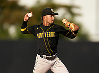 Montverde Academy Eagles Justin Colon (3) throws to first base during a game against the IMG Academy Ascenders on April 8, 2021 at IMG Academy in Bradenton, Florida.  (Mike Janes/Four Seam Images)