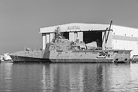 USS Manchester Independence class littoral combat ship (LCS) under construction at the Austal Shipyard on the Mobile River in Mobile, Alabama.