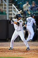 Jackson Generals second baseman Jamie Westbrook (20) at bat during a game against the Chattanooga Lookouts on April 27, 2017 at The Ballpark at Jackson in Jackson, Tennessee.  Chattanooga defeated Jackson 5-4.  (Mike Janes/Four Seam Images)