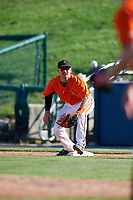 Frederick Keys first baseman Collin Woody (21) waits to receive a throw during the first game of a doubleheader against the Lynchburg Hillcats on June 12, 2018 at Nymeo Field at Harry Grove Stadium in Frederick, Maryland.  Frederick defeated Lynchburg 2-1.  (Mike Janes/Four Seam Images)