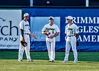 20 June 2021: Vermont Lake Monsters outfielders Tom Vesosky (left), Darren Hagan (middle) and Sky Rahill (right), chat during a pitching change during a game against the Westfield Starfires at Centennial Field in Burlington, Vermont. The Lake Monsters fell to the Starfires 10-2 at Centennial Field, in Burlington, Vermont. Mandatory Credit: Ed Wolfstein Photo *** RAW (NEF) Image File Available ***