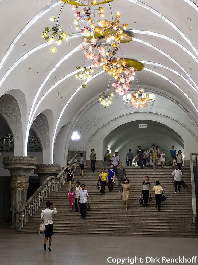 U-Bahnhof in Pyongyang, Nordkorea, Asien<br /> Subway station, Pyongyang, North Korea, Asia