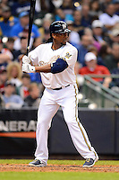 Milwaukee Brewers second baseman Rickie Weeks #23 during a game against the Minnesota Twins at Miller Park on May 27, 2013 in Milwaukee, Wisconsin.  Minnesota defeated Milwaukee 6-3.  (Mike Janes/Four Seam Images)