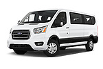 Stock pictures of low aggressive front three quarter view of 2020 Ford Transit XLT 4 Door Passenger Van Low Aggressive