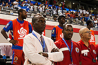 Haiti head coach Israel Blake Cantero. Honduras defeated Haiti 2-0 during a CONCACAF Gold Cup group B match at Red Bull Arena in Harrison, NJ, on July 8, 2013.