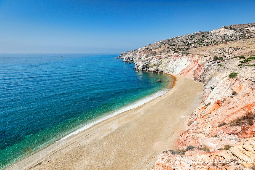 The beach Paleochori in Milos, Greece