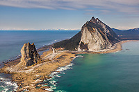 Aerial of Cape St. Elias lighthouse on Kayak Island, Gulf of Alaska, southcentral, Alaska.