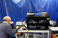 Pictured: A worker tests a machine at Some of the work done by Spectrum Technologies in Bridgend, Wales, UK. Wednesday 19 February 2020<br /> Re: The effect of the Ford factory closure will have to Bridgend in south Wales, UK.
