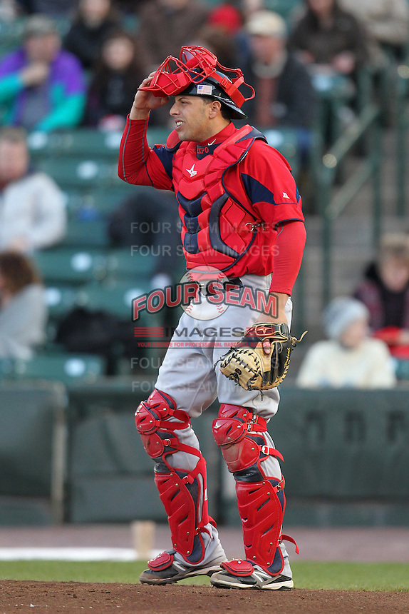 Pawtucket Red Sox catcher Luis Exposito #23 during a game against the Rochester Red Wings at Frontier Field on April 13, 2012 in Rochester, New York.  Pawtucket defeated Rochester 4-3.  (Mike Janes/Four Seam Images)