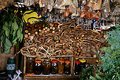 Manaus, Brazil. Herbal medicines for sale at a street market.